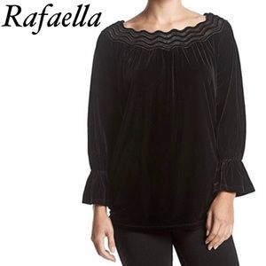 New Rafaella velvet blouse top size LP black color